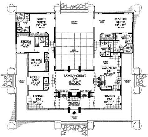 classic prairie style house plan  st floor master suite cad  courtyard