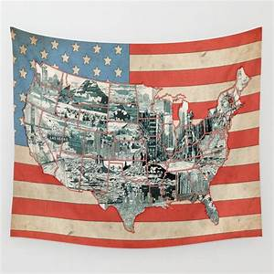 usa map urban city collage Wall Tapestry by bekimart ...