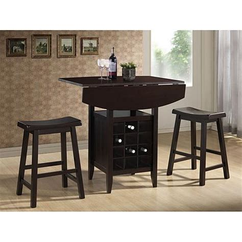 reynolds black wood  piece modern drop leaf pub set