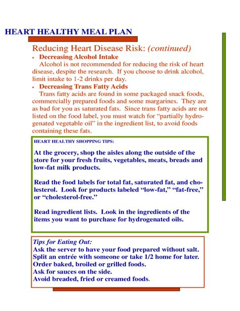 heart health meal plan
