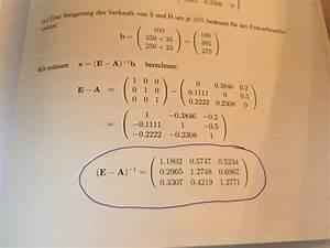 Matrix 1 Berechnen : input output tabelle matrix hoch minus 1 berechnen mathelounge ~ Themetempest.com Abrechnung
