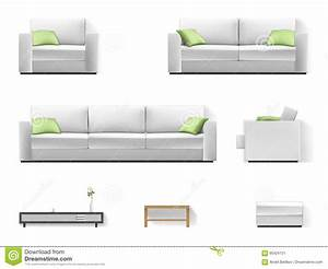 White, Sofa, With, Green, Pillow, Stock, Vector