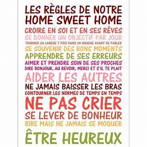 Regle De La Maison A Imprimer : sticker poster citation les r gles de notre home sweet ~ Dode.kayakingforconservation.com Idées de Décoration
