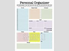 Personal Organizer EDITABLE Daily planner weekly planner