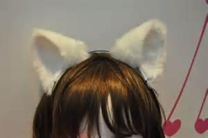 white cat ears white cat ears movable ears headband inner white by kittyspace