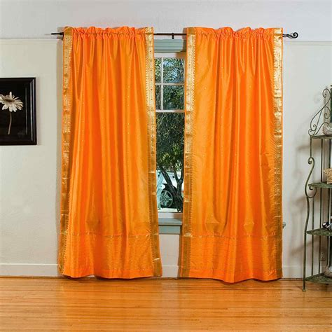 pumpkin rod pocket sheer sari curtain drape panel - Drapes India