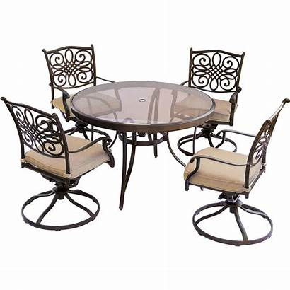 Dining Piece Outdoor Table Glass Chairs Swivel