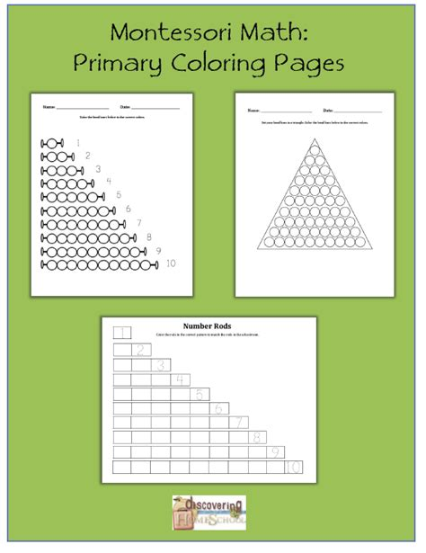 montessori math primary coloring pages  homeschool deals