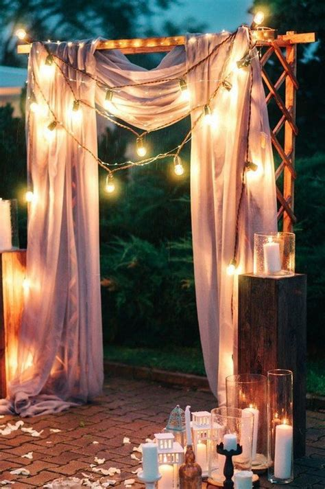 night wedding ceremony aisles  backdrops  lights