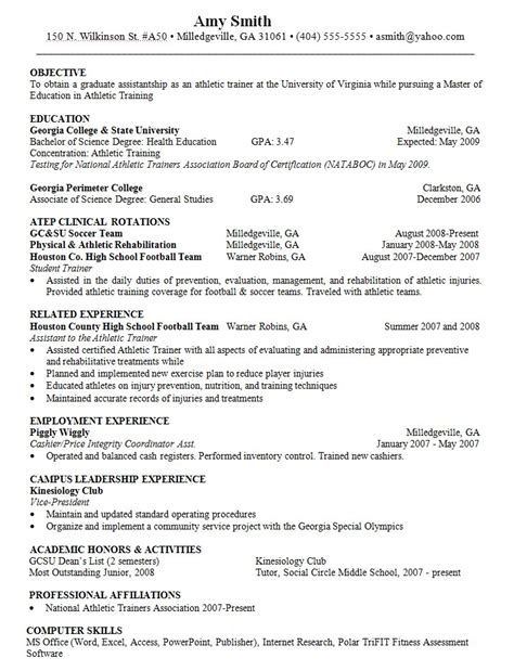 objective for resume athletic trainer resumes design