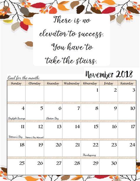 november  calendar  quotes november printable