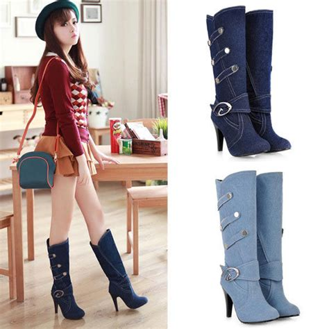 New Women Fashion Jeans Buttons Cowboy Boots High Heels