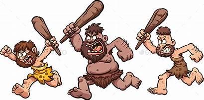 Caveman Cavemen Running Angry Clip Cartoon Clipart