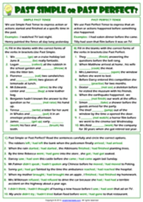 perfect tense esl printable worksheets  exercises