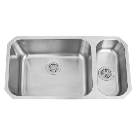"""32"""" Infinite Wide 80/20 Offset Double Bowl Stainless Steel"""