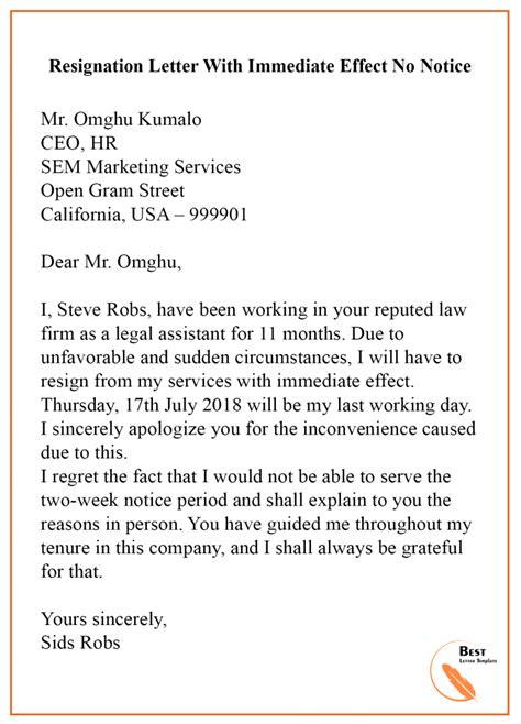 sample resignation letter template   notice
