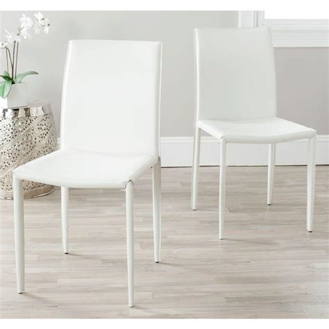 safavieh karna white bonded leather dining chair fox2009a