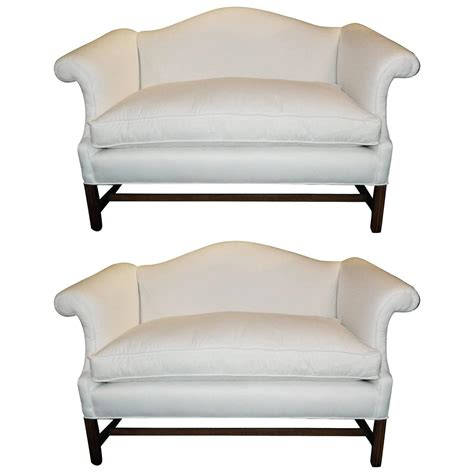 Camelback Settee pair of chippendale style camelback sofa or settees