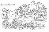 Coloring Pages Mountain Mountains Realistic National Park Sunrise Coloringpagesfortoddlers Scenery Adult Forest Children Nature Drawing Scene Adults Books Printable Parks sketch template