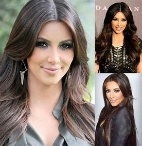 Braune Haare Mit Highlights : highlights hairstyle kim kardashian haare braune haare braune haare mit highlights und haar ~ Frokenaadalensverden.com Haus und Dekorationen