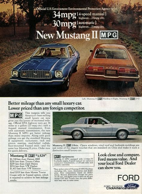 ford debuts  pinto mpg mustang ii mpg  click