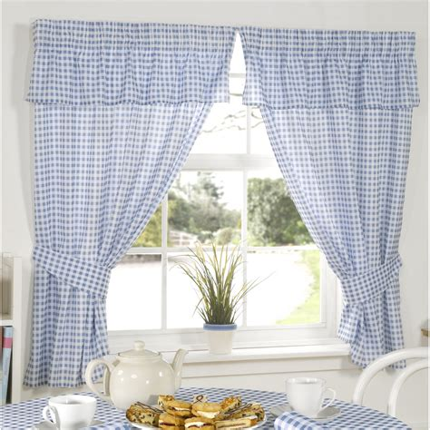 blue gingham curtains molly gingham check pattern ready made kitchen curtains