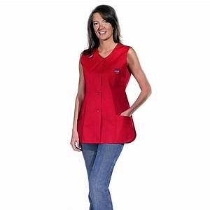 Cote De Travail Femme : blouse femme sans manche bride avec passepoil color paule ~ Dailycaller-alerts.com Idées de Décoration