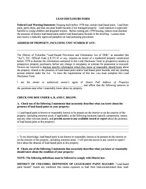 Nyc Lead Paint Disclosure Form by Lead Disclosure Pdf Filable Fill Online Printable