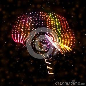 Neon Brain Abstract Illustration Stock s Image