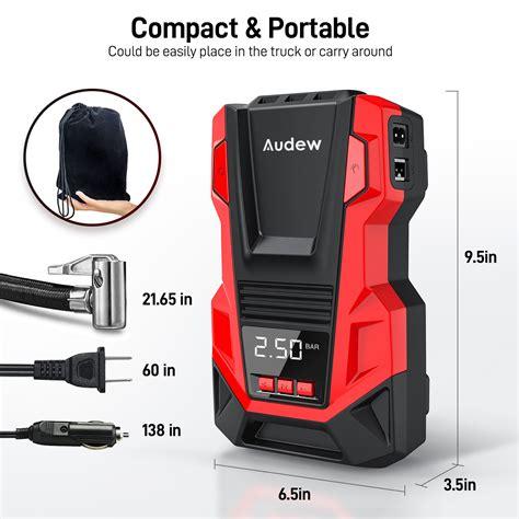 audew portable acdc air compressor tire inflator  gauge  psi tire pump