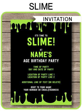 slime party invitations template slime birthday invite