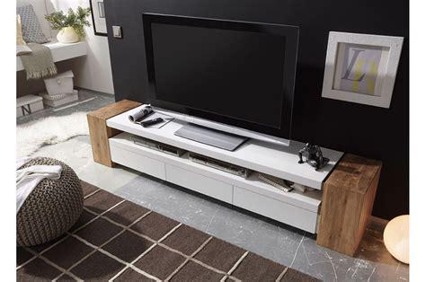 Meuble Tv Design Blanc Et Bois 200cm Trendymobiliercom