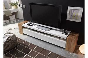 Meuble Tv Design Bois : meuble tv design blanc et bois 200cm ~ Melissatoandfro.com Idées de Décoration