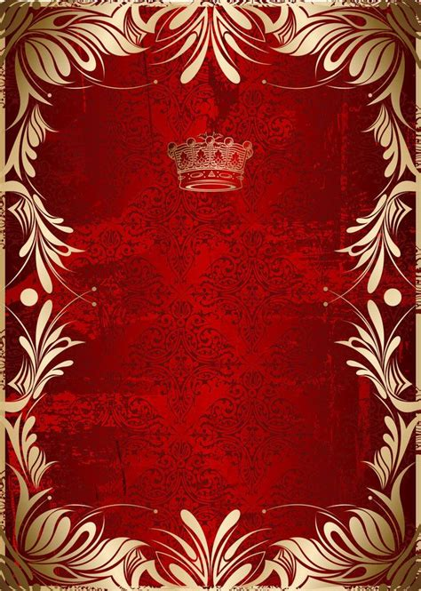 gold pattern  red background vector border material