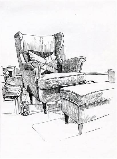 Drawing Drawings Sketches Chair Furniture Living Interior