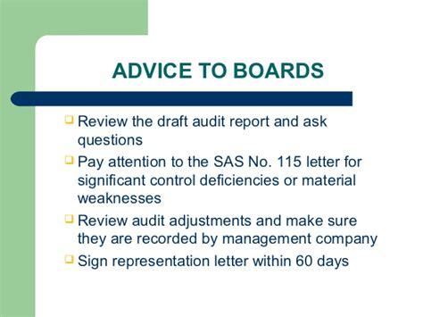 sas 115 letter community associations audit process 53110