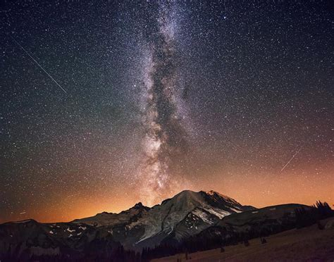 The Milky Way Galaxy Exploding From Mount Rainier Photos