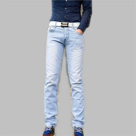 light jeans mens new fashion spring and summer light blue male skinny pants