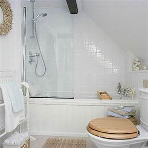 Small bathroom with sloped ceiling by lorrie beauty and for Small attic bathroom sloped ceiling