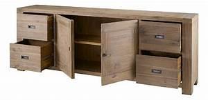 Meuble Bas Salle à Manger : meuble bas 2 portes 4 tiroirs nevada en acacia ~ Teatrodelosmanantiales.com Idées de Décoration