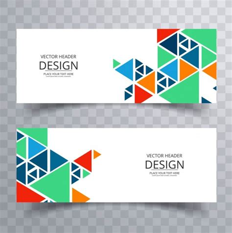 triangular form colorful banners with triangle forms vector free download