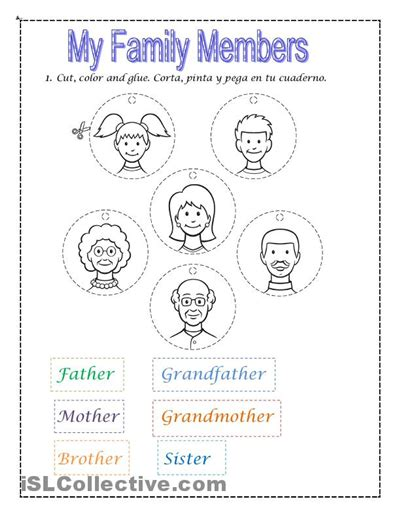 my family worksheets for kindergarten 4 best images of