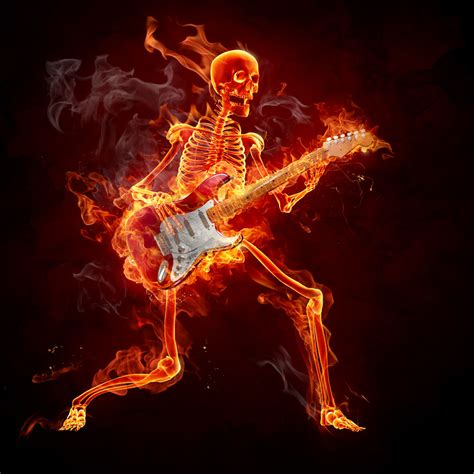 st hardrock 弹奏吉它的火焰骷髅高清图片图片素材 图片id 30390 冰水烈火 生活百科 图片素材 淘图网 taopic