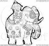 Elephant Outline Coloring Clipart Royalty Pageant Illustration Elephants Rf Lal Perera India Background Clipartof Version sketch template