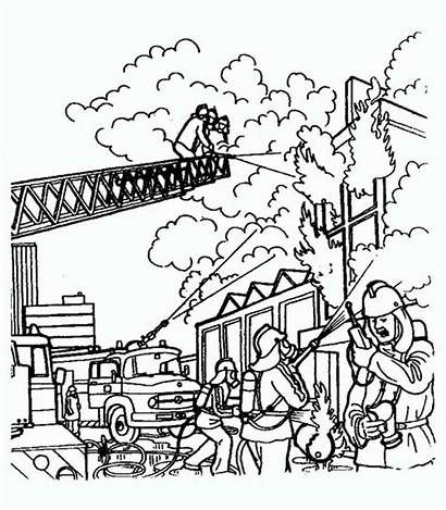 Fire Building Burning Fireman Coloring Drawing Pages