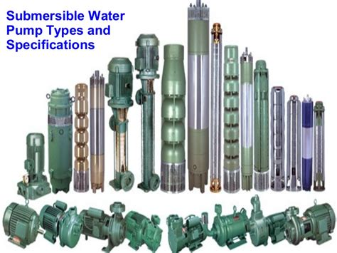 submersible water types and specifications