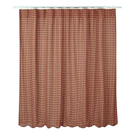 burgundy check scalloped shower curtain country plaid