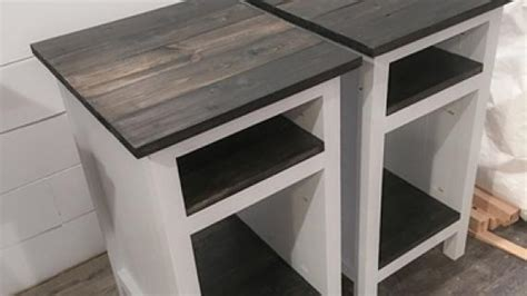 planked wood bedside table  shelves ana white