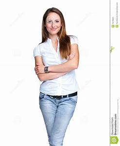 Stock Image: Attractive young woman standing with folded ...
