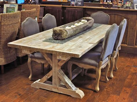 garden trestle table made from reclaimed new barn